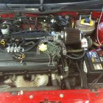 MG ZR 1.8 LPG conversion, engine bay of K series engine with autogas system
