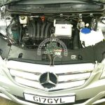 Mercedes B170 engine bay after lpg autogas conversion