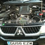 mitsubishi shogun sport engine bay after LPG autogas system installation
